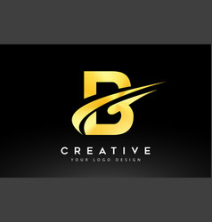 Creative b letter logo design with brush swoosh vector