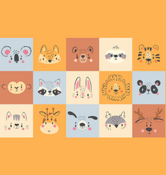 Cute animal portraits hand drawn happy animals vector