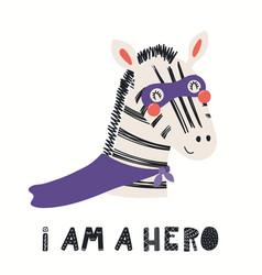 Cute zebra superhero vector