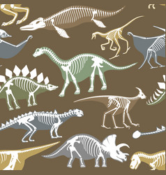 Dinosaurs skeletons silhouettes bone tyrannosaurus vector