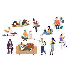 diversity people reading books flat vector image