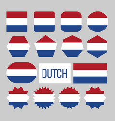 dutch flag collection figure icons set vector image