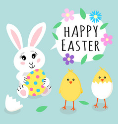 easter greeting card cute rabbit bunny holding vector image