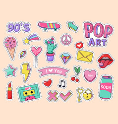 fashion pop art patch stickers girls cartoon cute vector image
