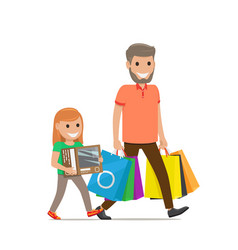 Father and daughter go shopping family shopping vector