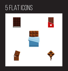 Flat icon chocolate set of dessert bitter vector
