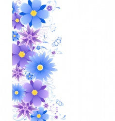 floral background with blue flowers vector image vector image