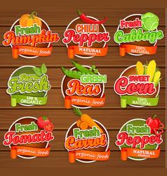 fresh vegetable labels vector image