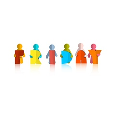Friday Colorful Title - Paper Cut People and vector image