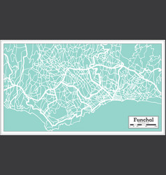 Funchal portugal city map in retro style vector