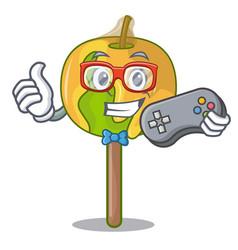 Gamer candy apple mascot cartoon vector