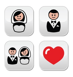 Groom and bride on round white labels vector