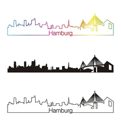 Hamburg skyline linear style with rainbow vector