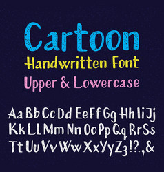 handwritten font uppercase and lowercase letters vector image