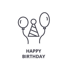 happy birthday line icon outline sign linear vector image