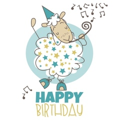Happy birthday sheep vector image