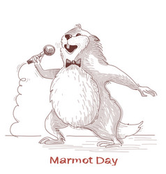 Happy groundhog day with marmot singer vector