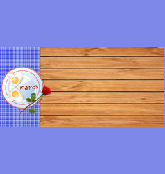 Happy womens day banner with heart omelet in vector