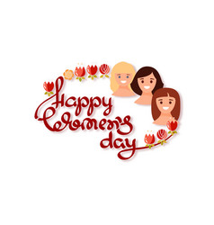 happy womens day handwritten lettering with vector image