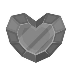 heart-shaped gemstone icon in monochrome style vector image