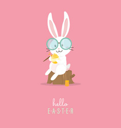 Hello easter with white easter rabbit vector