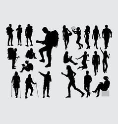 hiker people activity silhouettes vector image