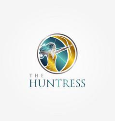 Huntress archery elegant logo symbol with vector