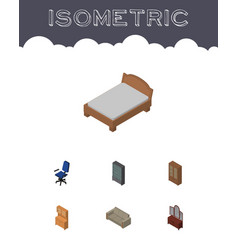 Isometric design set of bedstead couch drawer vector