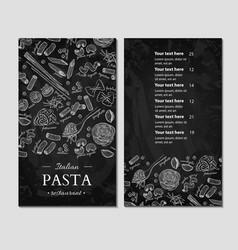 italian pasta restaurant menu hand drawn vector image