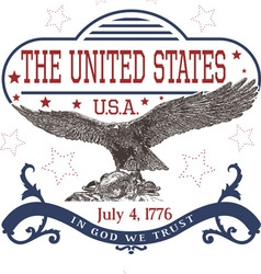 July 4th US Independence Day Template with Eagle vector image