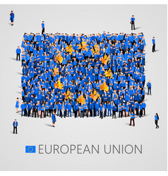 Large group people in shape european vector