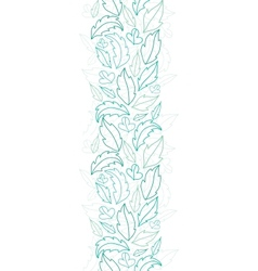 Leaves lineart vertical seamless pattern vector