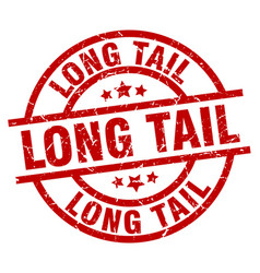 Long tail round red grunge stamp vector