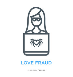 Love fraud line flat icon vector