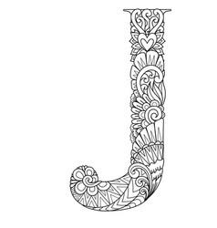 Mandala letter j monogram vector