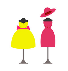Mannequins in modern fashionable dresses with hat vector
