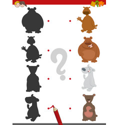 Match shadows game with bears vector