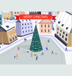 Merry christmas people walking along main square vector