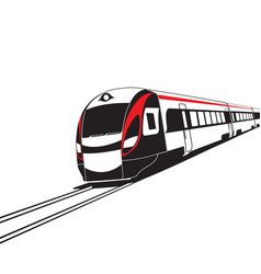 Modern high speed train on white background vector