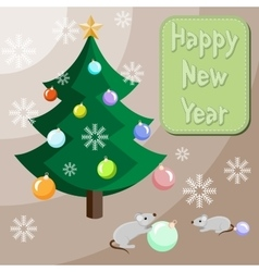 Mouses are decorating the Christmas tree vector image