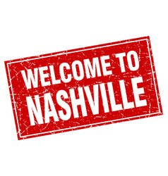 Nashville red square grunge welcome to stamp vector