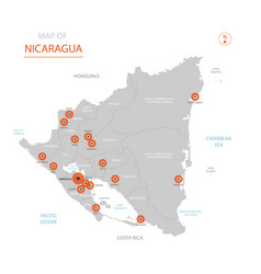 nicaragua map with administrative divisions vector image