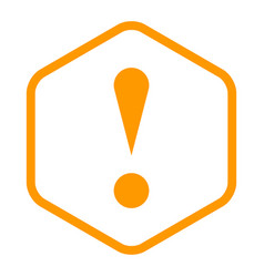 orange sexangle exclamation mark icon warning sign vector image