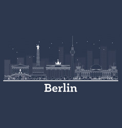 outline berlin germany city skyline with white vector image