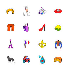 paris set icons set cartoon vector image