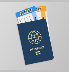 passport with boarding tickets hand drawn blue vector image