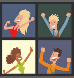 people jumping in celebration party happy vector image