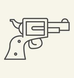 Pistol thin line icon revolver vector