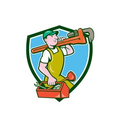 Plumber Carrying Monkey Wrench Toolbox Crest vector image