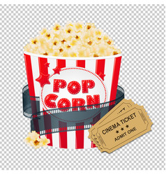 Popcorn in cardboard box with tickets cinema vector